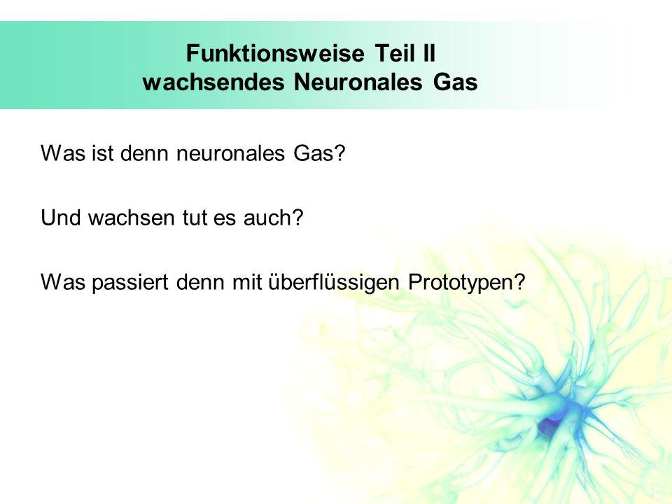 Funktionsweise Teil II wachsendes Neuronales Gas Was ist denn neuronales Gas? Und wachsen tut es auch? Was passiert denn mit überflüssigen Prototypen?