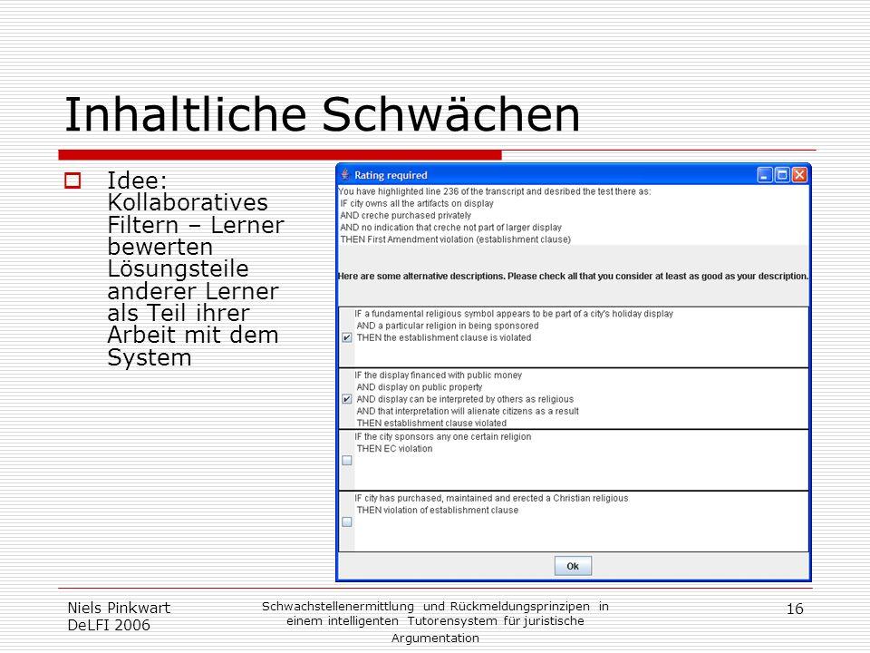 16 Niels Pinkwart DeLFI 2006 Schwachstellenermittlung und Rückmeldungsprinzipen in einem intelligenten Tutorensystem für juristische Argumentation Inh