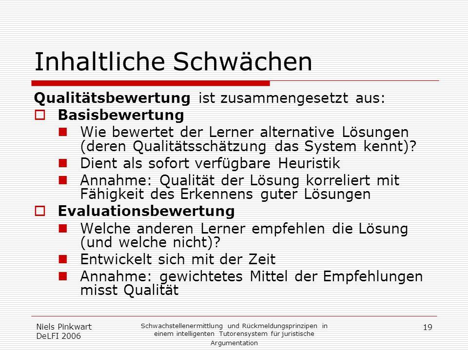 19 Niels Pinkwart DeLFI 2006 Schwachstellenermittlung und Rückmeldungsprinzipen in einem intelligenten Tutorensystem für juristische Argumentation Inh