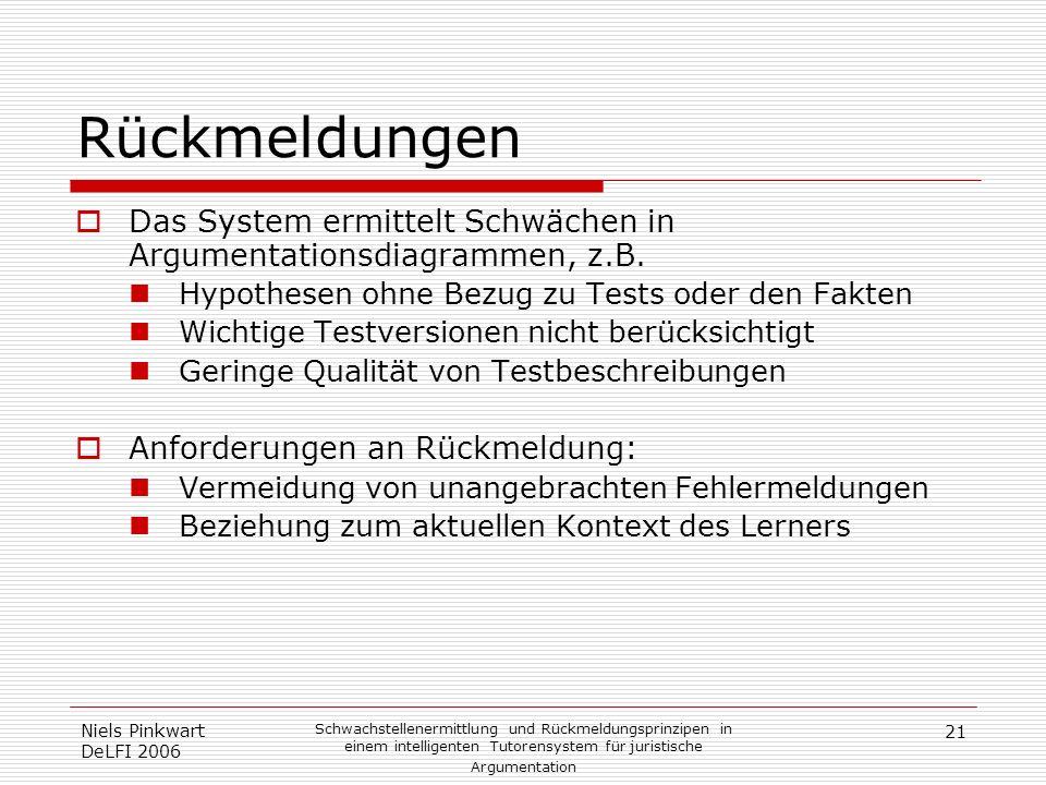 21 Niels Pinkwart DeLFI 2006 Schwachstellenermittlung und Rückmeldungsprinzipen in einem intelligenten Tutorensystem für juristische Argumentation Rüc