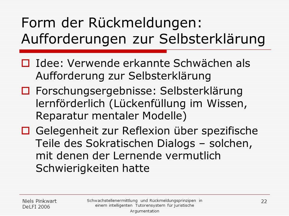 22 Niels Pinkwart DeLFI 2006 Schwachstellenermittlung und Rückmeldungsprinzipen in einem intelligenten Tutorensystem für juristische Argumentation For