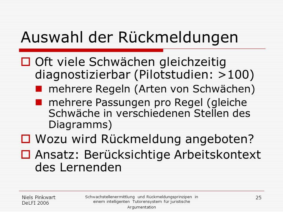 25 Niels Pinkwart DeLFI 2006 Schwachstellenermittlung und Rückmeldungsprinzipen in einem intelligenten Tutorensystem für juristische Argumentation Aus