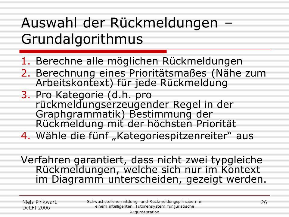 26 Niels Pinkwart DeLFI 2006 Schwachstellenermittlung und Rückmeldungsprinzipen in einem intelligenten Tutorensystem für juristische Argumentation Aus