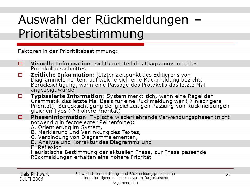 27 Niels Pinkwart DeLFI 2006 Schwachstellenermittlung und Rückmeldungsprinzipen in einem intelligenten Tutorensystem für juristische Argumentation Aus