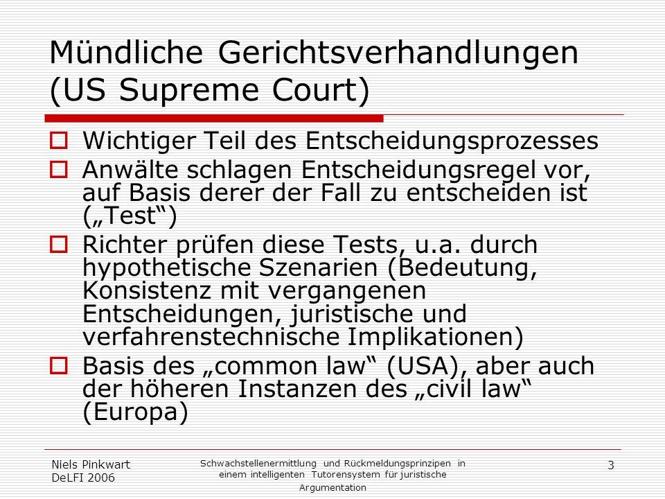 3 Niels Pinkwart DeLFI 2006 Schwachstellenermittlung und Rückmeldungsprinzipen in einem intelligenten Tutorensystem für juristische Argumentation Münd