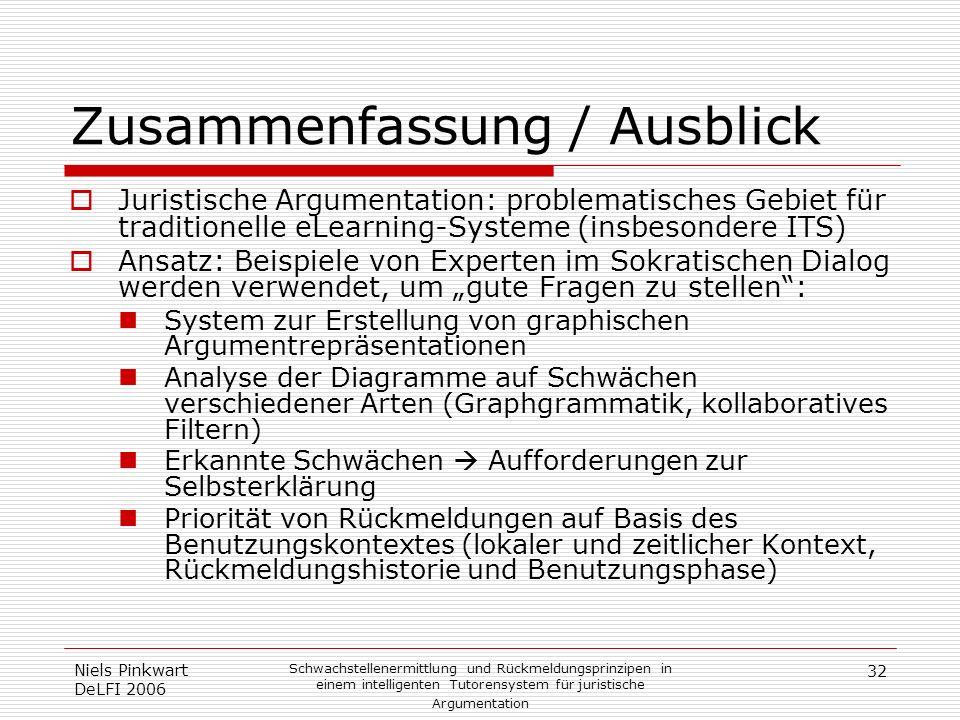 32 Niels Pinkwart DeLFI 2006 Schwachstellenermittlung und Rückmeldungsprinzipen in einem intelligenten Tutorensystem für juristische Argumentation Zus