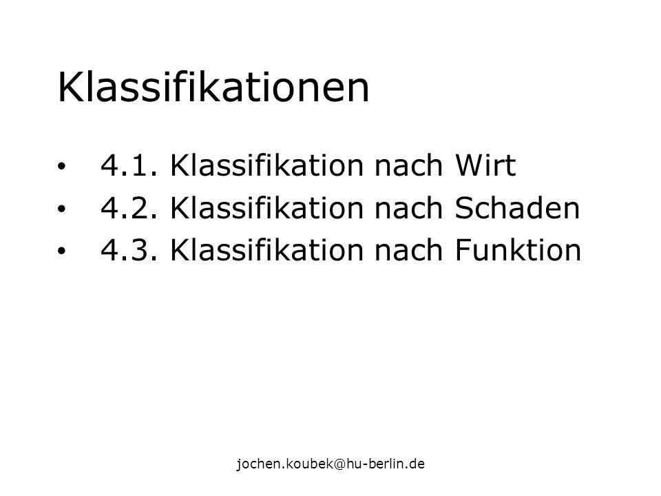 jochen.koubek@hu-berlin.de Klassifikationen 4.1. Klassifikation nach Wirt 4.2. Klassifikation nach Schaden 4.3. Klassifikation nach Funktion