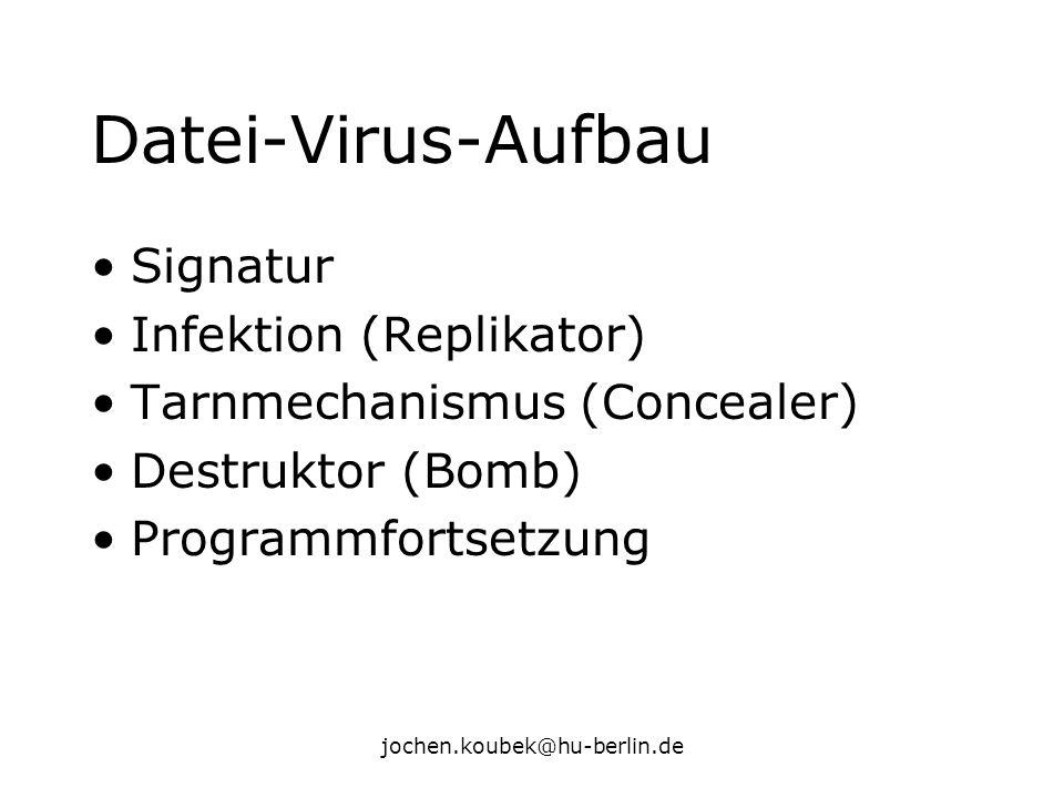 jochen.koubek@hu-berlin.de Datei-Virus-Aufbau Signatur Infektion (Replikator) Tarnmechanismus (Concealer) Destruktor (Bomb) Programmfortsetzung