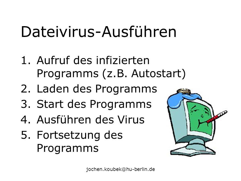 jochen.koubek@hu-berlin.de Dateivirus-Ausführen 1.Aufruf des infizierten Programms (z.B. Autostart) 2.Laden des Programms 3.Start des Programms 4.Ausf