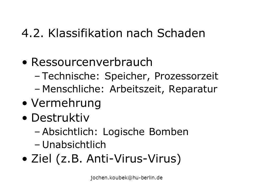 jochen.koubek@hu-berlin.de 4.2. Klassifikation nach Schaden Ressourcenverbrauch –Technische: Speicher, Prozessorzeit –Menschliche: Arbeitszeit, Repara