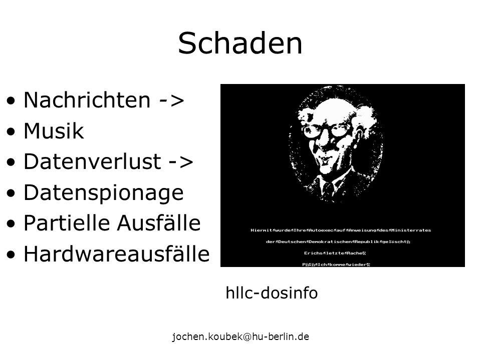 jochen.koubek@hu-berlin.de Schaden Nachrichten -> Musik Datenverlust -> Datenspionage Partielle Ausfälle Hardwareausfälle hllc-dosinfo