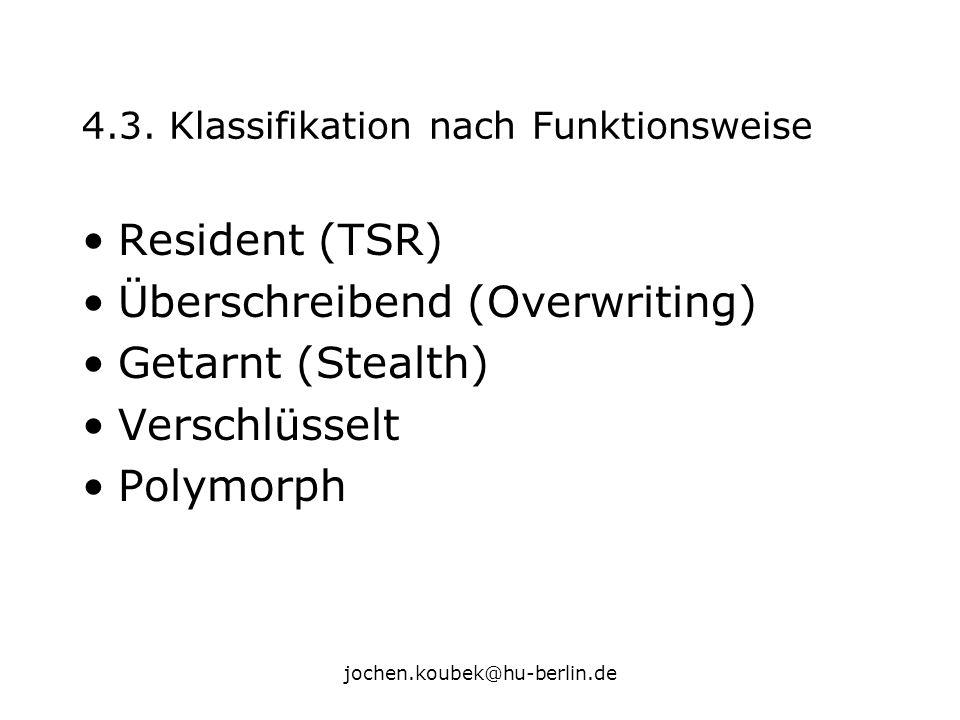 jochen.koubek@hu-berlin.de 4.3. Klassifikation nach Funktionsweise Resident (TSR) Überschreibend (Overwriting) Getarnt (Stealth) Verschlüsselt Polymor