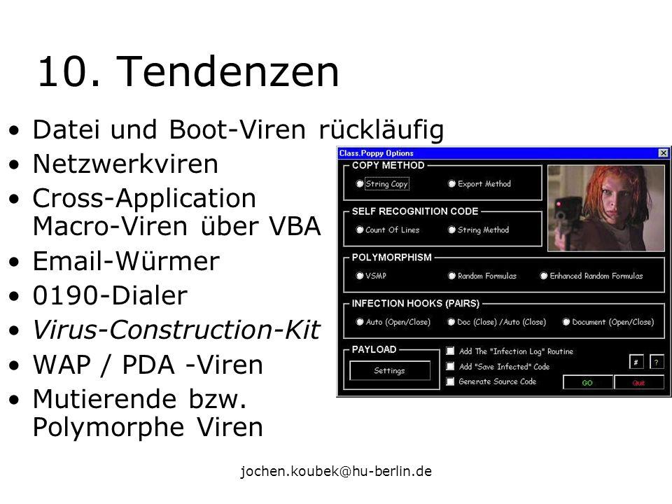 jochen.koubek@hu-berlin.de 10. Tendenzen Datei und Boot-Viren rückläufig Netzwerkviren Cross-Application Macro-Viren über VBA Email-Würmer 0190-Dialer