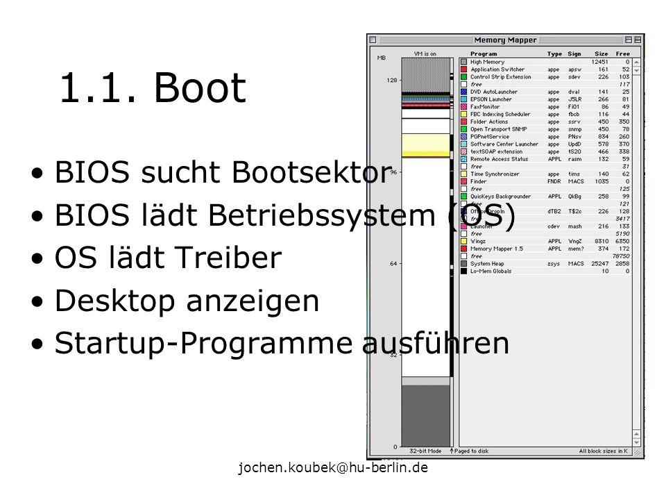 jochen.koubek@hu-berlin.de 1.1. Boot BIOS sucht Bootsektor BIOS lädt Betriebssystem (OS) OS lädt Treiber Desktop anzeigen Startup-Programme ausführen