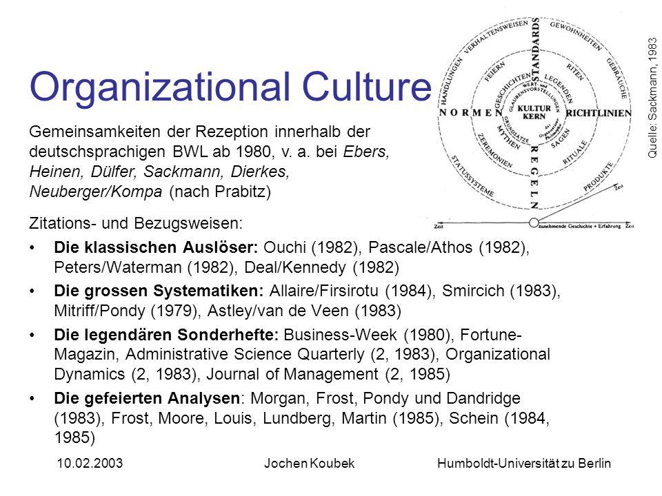 Humboldt-Universität zu Berlin10.02.2003Jochen Koubek Organizational Culture Zitations- und Bezugsweisen: Die klassischen Auslöser: Ouchi (1982), Pasc