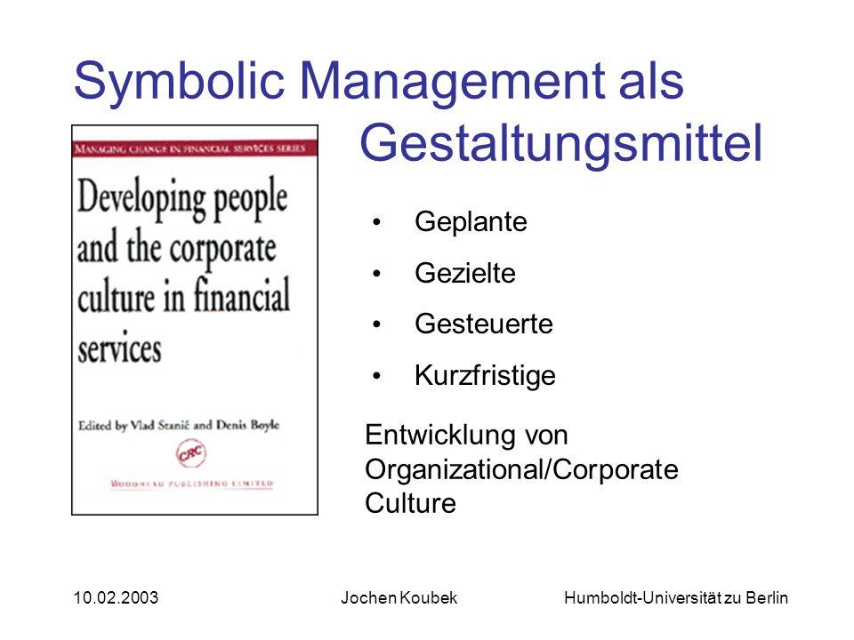 Humboldt-Universität zu Berlin10.02.2003Jochen Koubek Symbolic Management als Gestaltungsmittel Geplante Gezielte Gesteuerte Kurzfristige Entwicklung