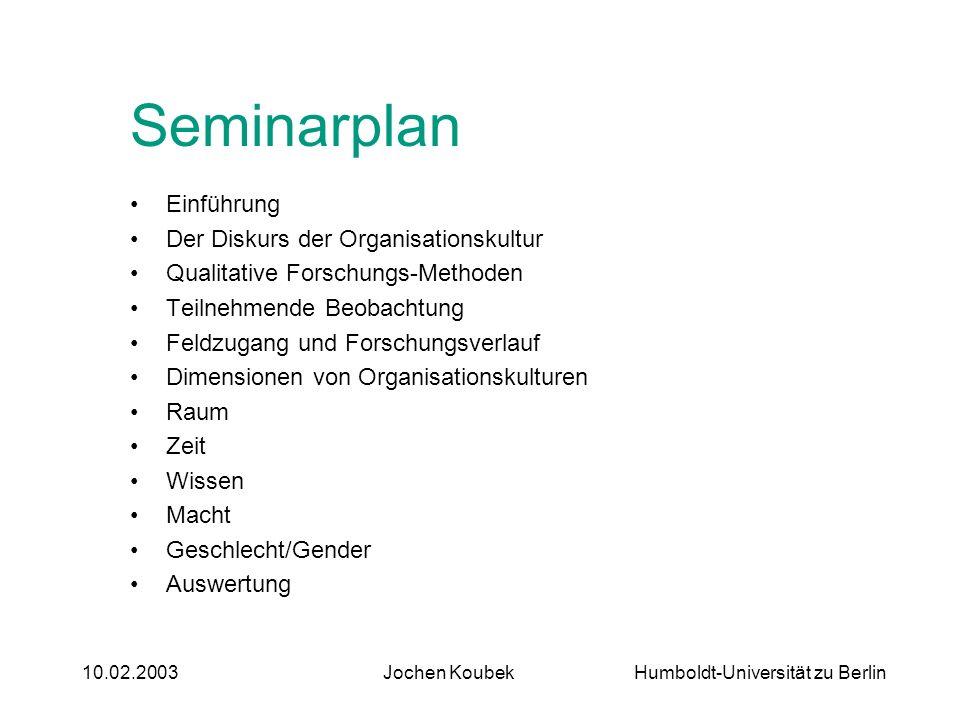 Humboldt-Universität zu Berlin10.02.2003Jochen Koubek Seminarplan Einführung Der Diskurs der Organisationskultur Qualitative Forschungs-Methoden Teiln