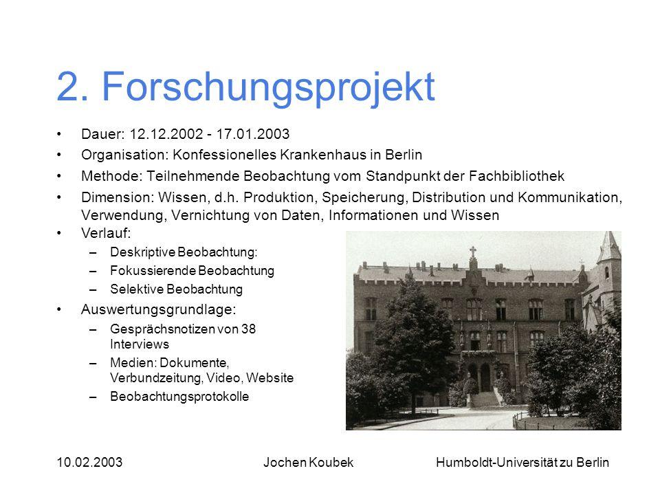 Humboldt-Universität zu Berlin10.02.2003Jochen Koubek 2. Forschungsprojekt Dauer: 12.12.2002 - 17.01.2003 Organisation: Konfessionelles Krankenhaus in