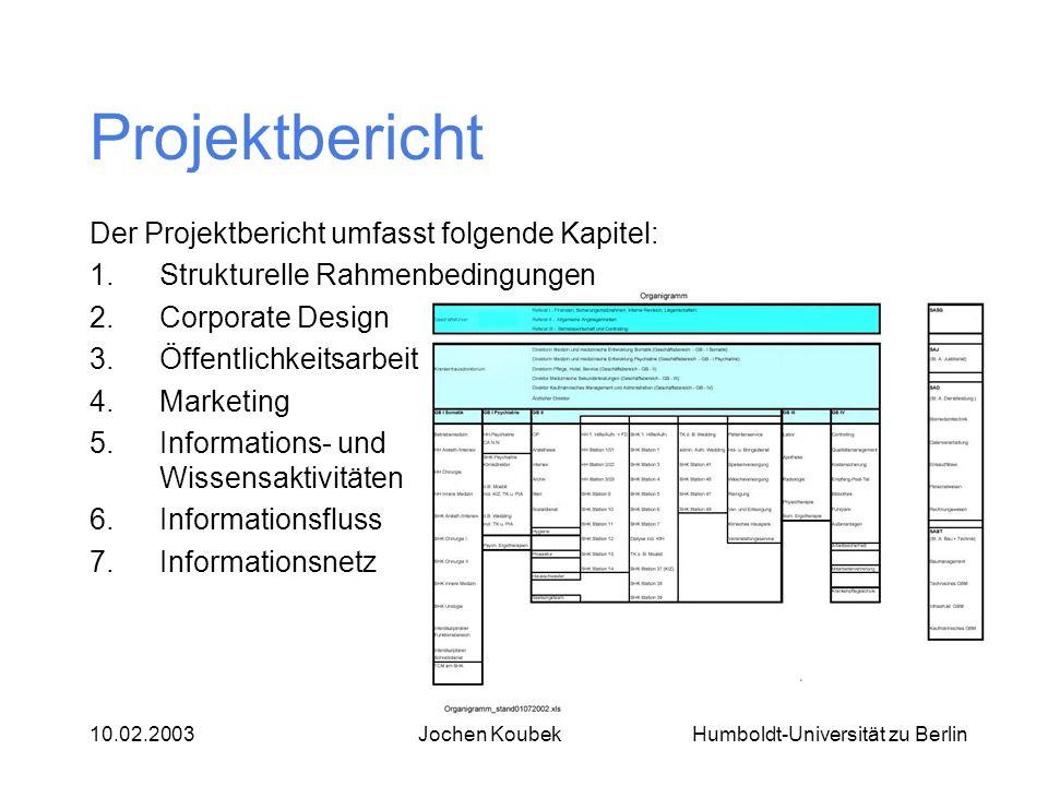Humboldt-Universität zu Berlin10.02.2003Jochen Koubek Projektbericht Der Projektbericht umfasst folgende Kapitel: 1.Strukturelle Rahmenbedingungen 2.C