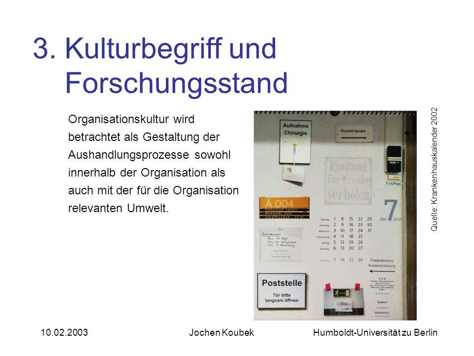 Humboldt-Universität zu Berlin10.02.2003Jochen Koubek Organisationskultur wird betrachtet als Gestaltung der Aushandlungsprozesse sowohl innerhalb der