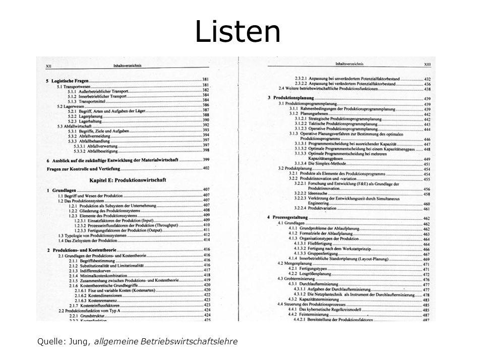 Listen Quelle: Jung, allgemeine Betriebswirtschaftslehre