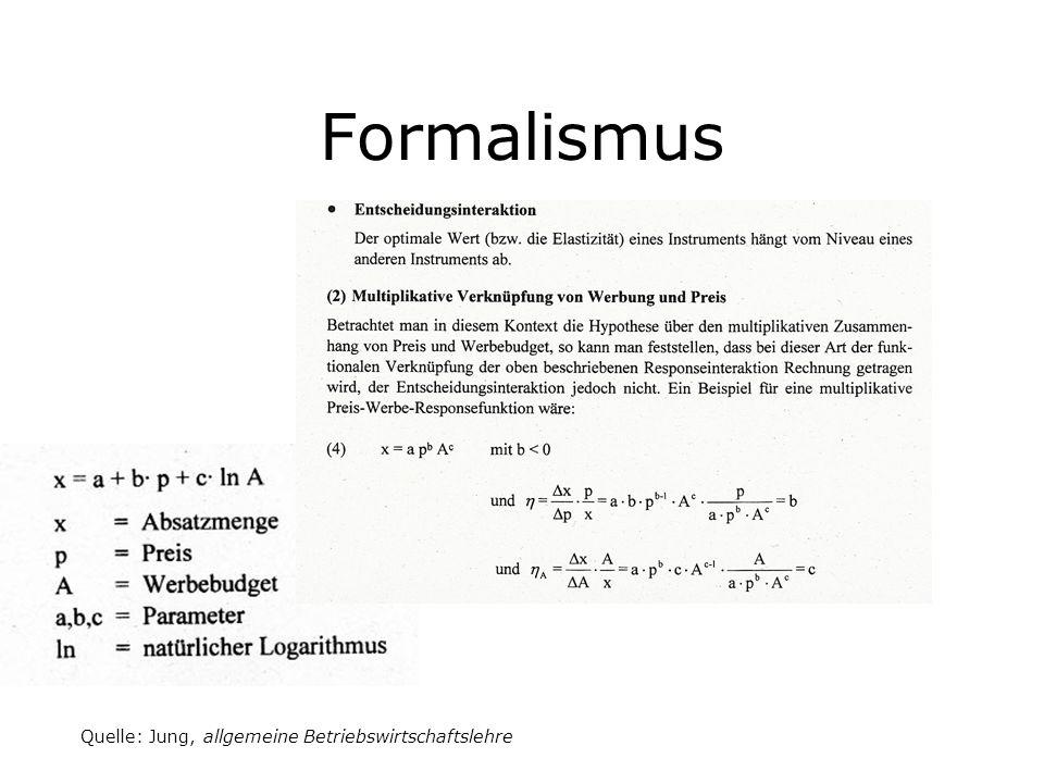 Formalismus Quelle: Jung, allgemeine Betriebswirtschaftslehre