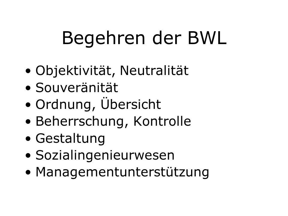 Begehren der BWL Objektivität, Neutralität Souveränität Ordnung, Übersicht Beherrschung, Kontrolle Gestaltung Sozialingenieurwesen Managementunterstüt
