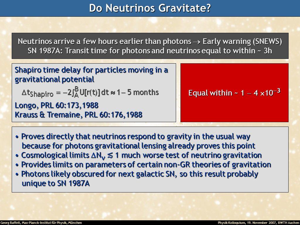 Georg Raffelt, Max-Planck-Institut für Physik, München Physik Kolloquium, 19. November 2007, RWTH Aachen Do Neutrinos Gravitate? Neutrinos arrive a fe