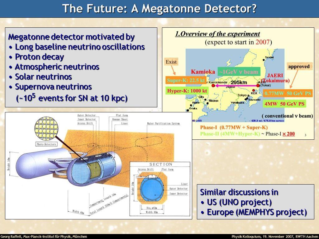 Georg Raffelt, Max-Planck-Institut für Physik, München Physik Kolloquium, 19. November 2007, RWTH Aachen The Future: A Megatonne Detector? Megatonne d
