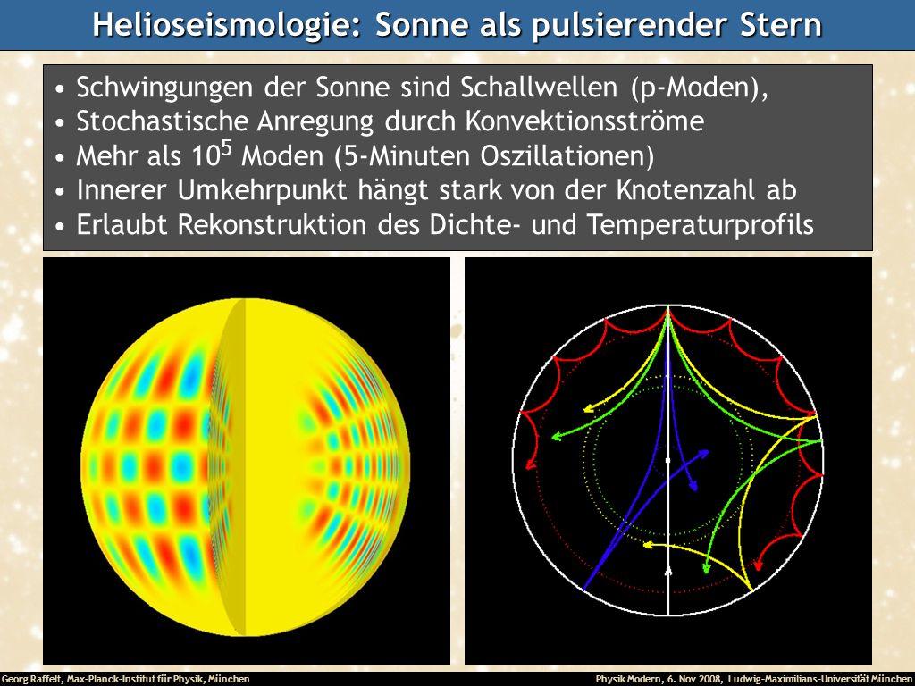 Georg Raffelt, Max-Planck-Institut für Physik, München Physik Modern, 6. Nov 2008, Ludwig-Maximilians-Universität München Helioseismologie: Sonne als