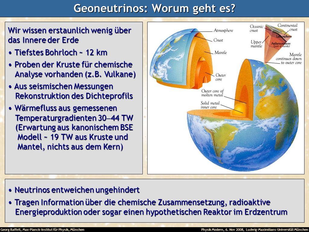 Georg Raffelt, Max-Planck-Institut für Physik, München Physik Modern, 6. Nov 2008, Ludwig-Maximilians-Universität München Geoneutrinos: Worum geht es?