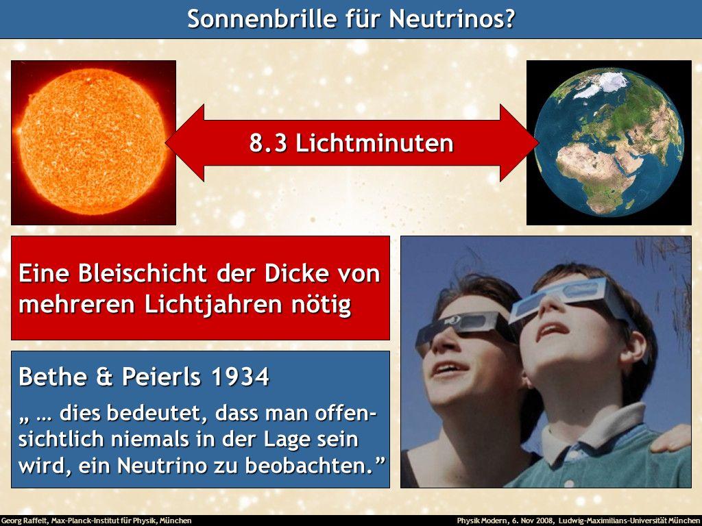 Georg Raffelt, Max-Planck-Institut für Physik, München Physik Modern, 6. Nov 2008, Ludwig-Maximilians-Universität München Sonnenbrille für Neutrinos?
