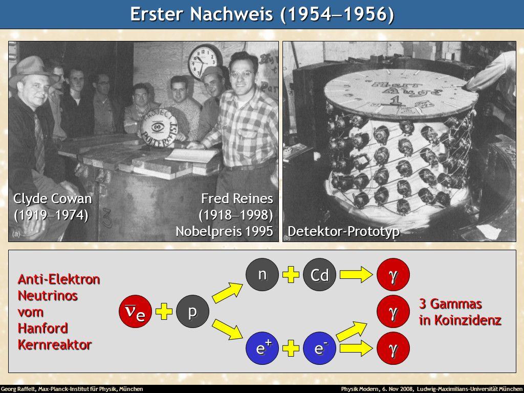 Georg Raffelt, Max-Planck-Institut für Physik, München Physik Modern, 6. Nov 2008, Ludwig-Maximilians-Universität München Erster Nachweis (1954 1956)