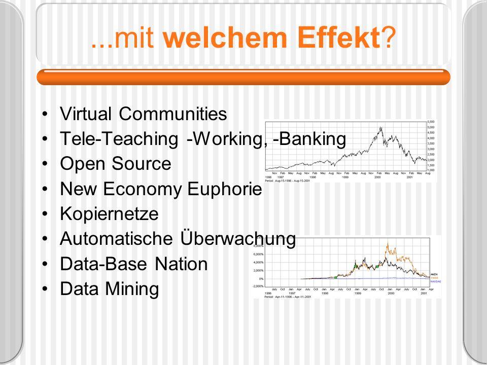 ...mit welchem Effekt? Virtual Communities Tele-Teaching -Working, -Banking Open Source New Economy Euphorie Kopiernetze Automatische Überwachung Data