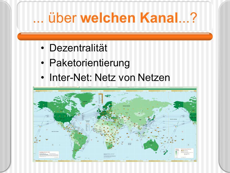 ... über welchen Kanal...? Dezentralität Paketorientierung Inter-Net: Netz von Netzen