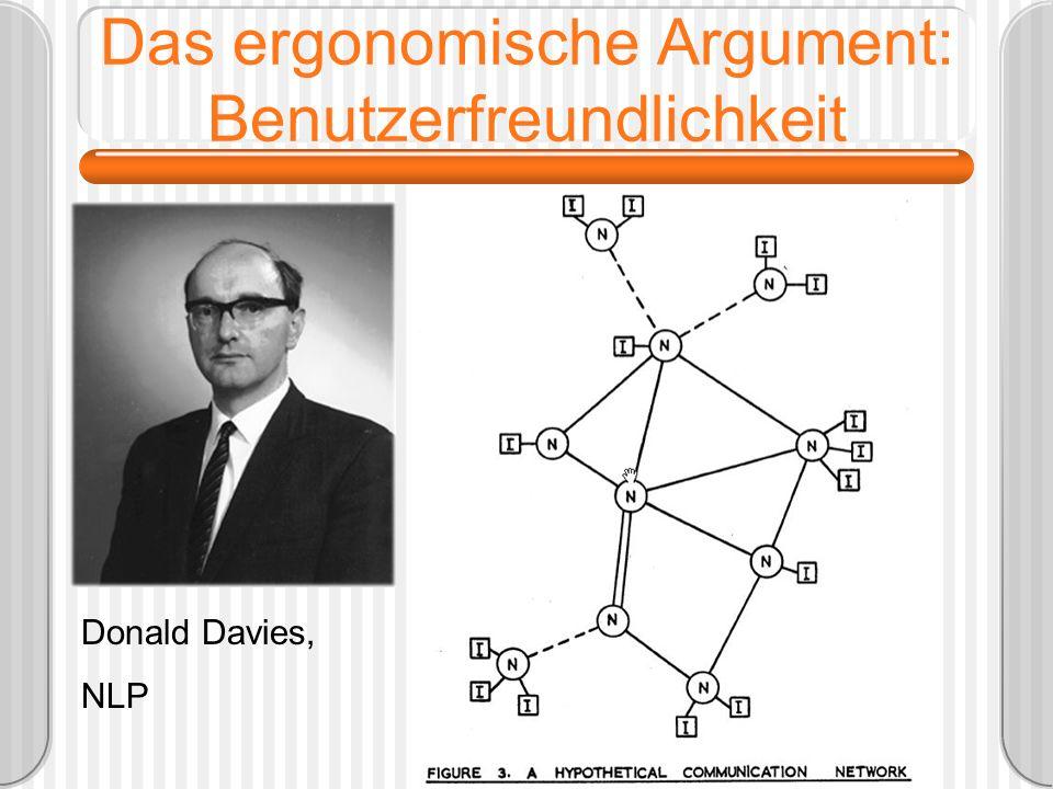 Das ergonomische Argument: Benutzerfreundlichkeit Donald Davies, NLP