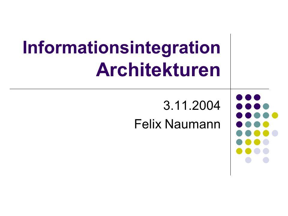 Informationsintegration Architekturen 3.11.2004 Felix Naumann