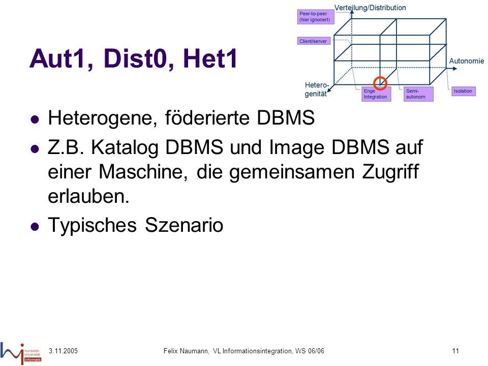 3.11.2005Felix Naumann, VL Informationsintegration, WS 06/0611 Aut1, Dist0, Het1 Heterogene, föderierte DBMS Z.B. Katalog DBMS und Image DBMS auf eine