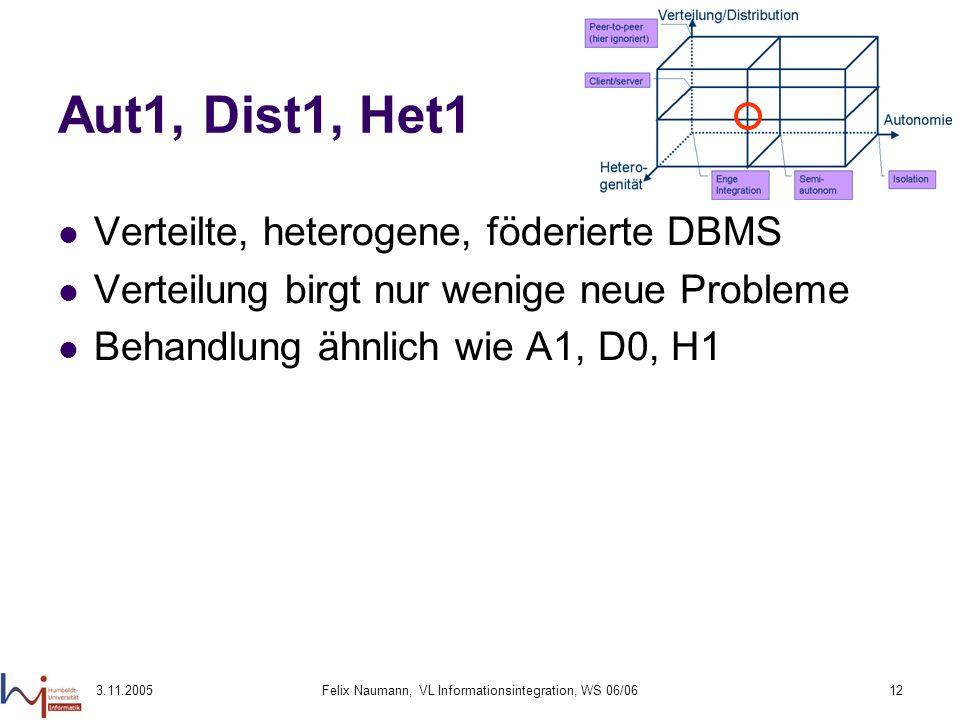 3.11.2005Felix Naumann, VL Informationsintegration, WS 06/0612 Aut1, Dist1, Het1 Verteilte, heterogene, föderierte DBMS Verteilung birgt nur wenige ne