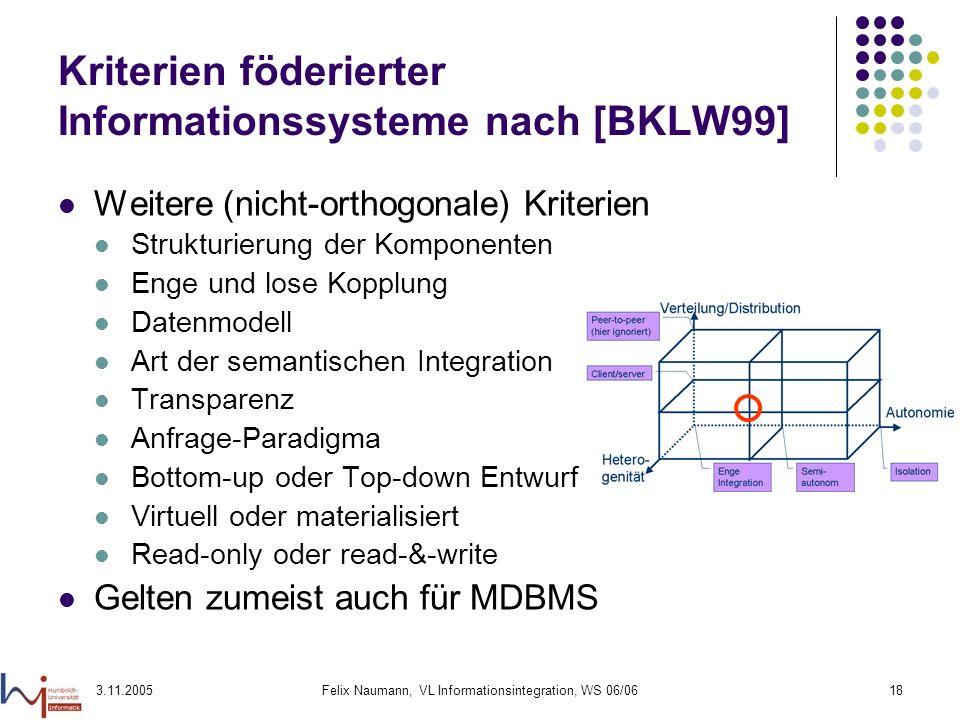 3.11.2005Felix Naumann, VL Informationsintegration, WS 06/0618 Kriterien föderierter Informationssysteme nach [BKLW99] Weitere (nicht-orthogonale) Kri