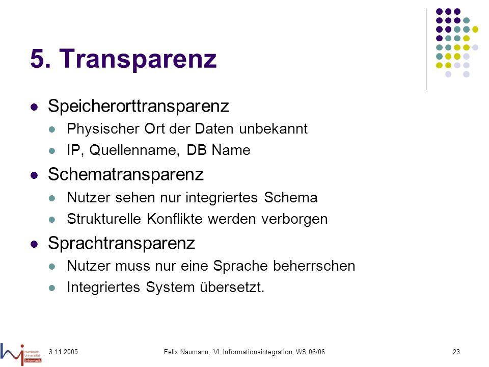 3.11.2005Felix Naumann, VL Informationsintegration, WS 06/0623 5. Transparenz Speicherorttransparenz Physischer Ort der Daten unbekannt IP, Quellennam
