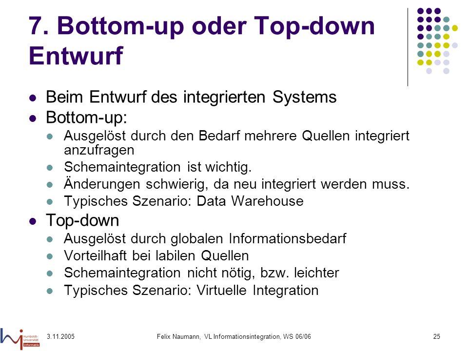 3.11.2005Felix Naumann, VL Informationsintegration, WS 06/0625 7. Bottom-up oder Top-down Entwurf Beim Entwurf des integrierten Systems Bottom-up: Aus