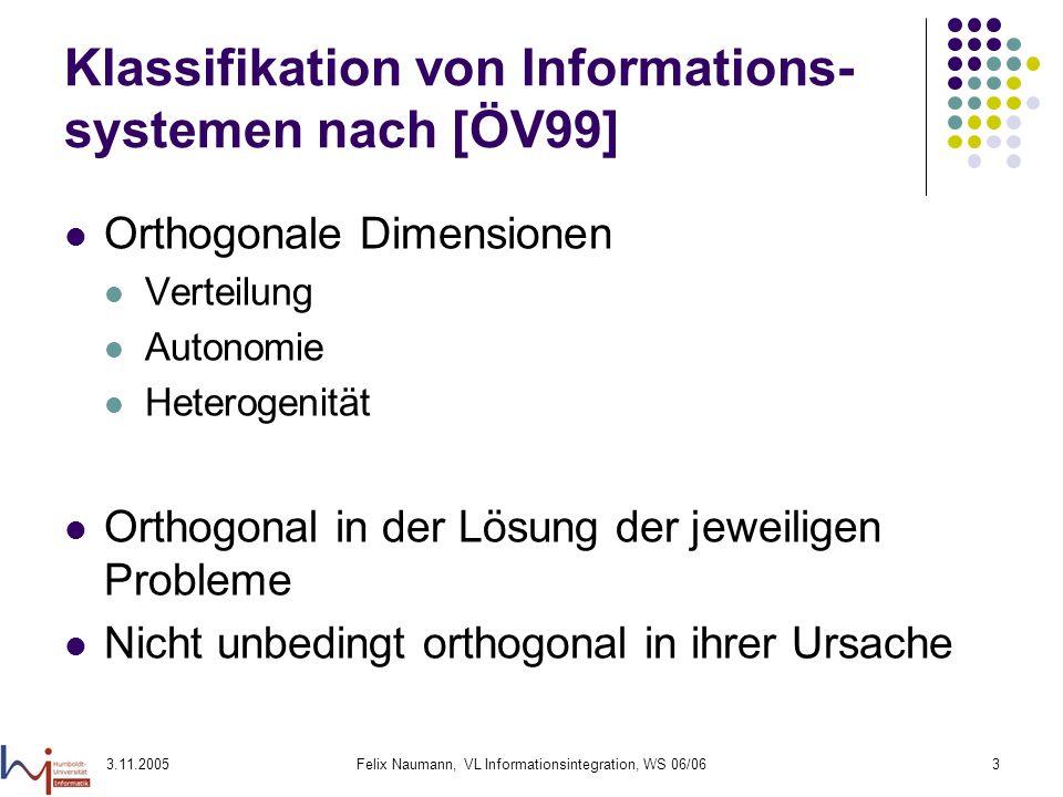 3.11.2005Felix Naumann, VL Informationsintegration, WS 06/063 Klassifikation von Informations- systemen nach [ÖV99] Orthogonale Dimensionen Verteilung