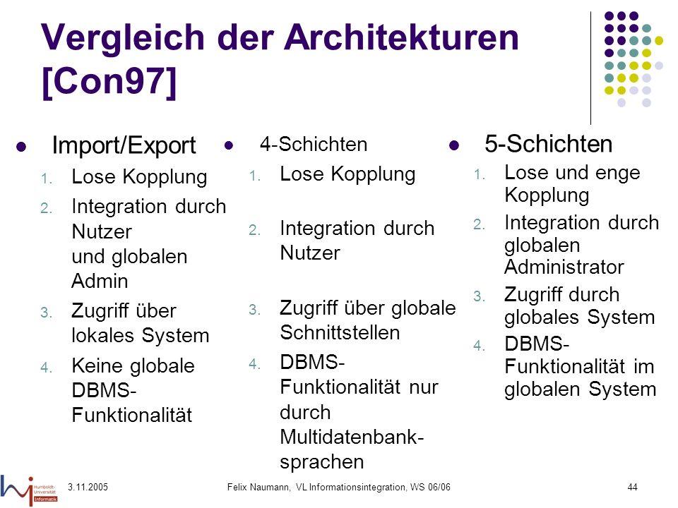 3.11.2005Felix Naumann, VL Informationsintegration, WS 06/0644 Vergleich der Architekturen [Con97] 4-Schichten 1. Lose Kopplung 2. Integration durch N