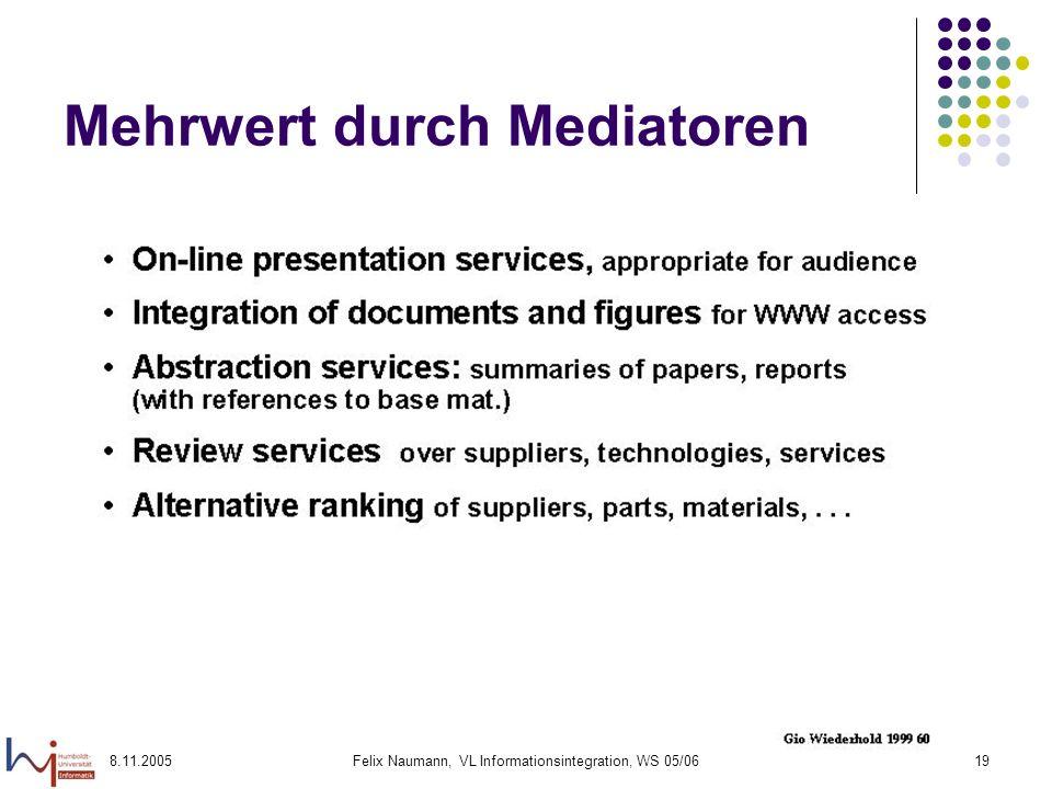 8.11.2005Felix Naumann, VL Informationsintegration, WS 05/0619 Mehrwert durch Mediatoren