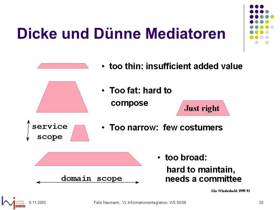 8.11.2005Felix Naumann, VL Informationsintegration, WS 05/0620 Dicke und Dünne Mediatoren