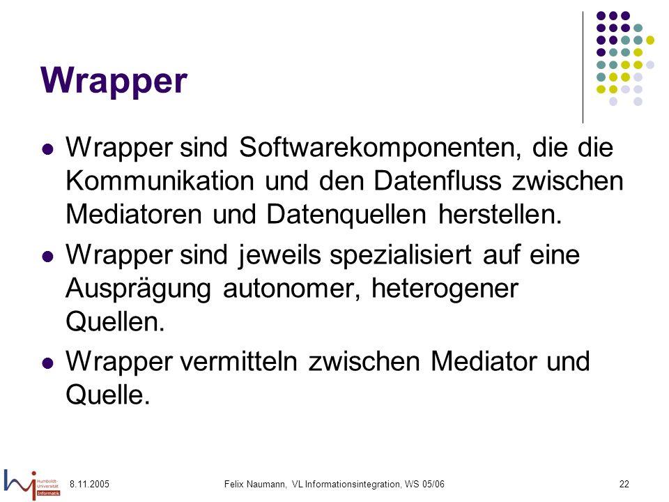 8.11.2005Felix Naumann, VL Informationsintegration, WS 05/0622 Wrapper Wrapper sind Softwarekomponenten, die die Kommunikation und den Datenfluss zwischen Mediatoren und Datenquellen herstellen.