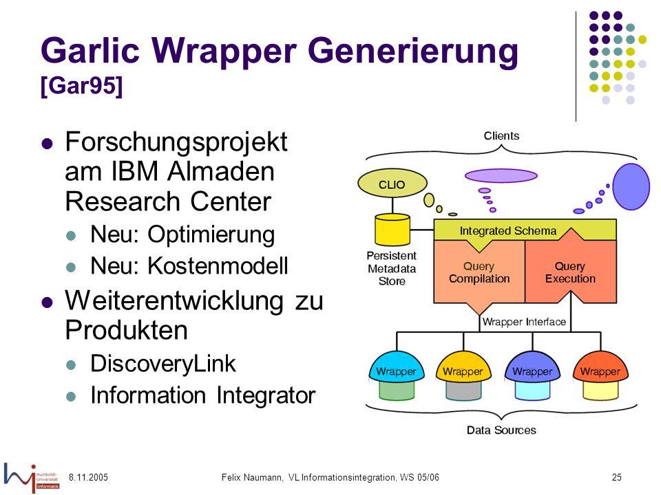8.11.2005Felix Naumann, VL Informationsintegration, WS 05/0625 Garlic Wrapper Generierung [Gar95] Forschungsprojekt am IBM Almaden Research Center Neu: Optimierung Neu: Kostenmodell Weiterentwicklung zu Produkten DiscoveryLink Information Integrator