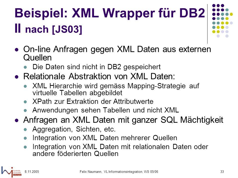 8.11.2005Felix Naumann, VL Informationsintegration, WS 05/0633 Beispiel: XML Wrapper für DB2 II nach [JS03] On-line Anfragen gegen XML Daten aus externen Quellen Die Daten sind nicht in DB2 gespeichert Relationale Abstraktion von XML Daten: XML Hierarchie wird gemäss Mapping-Strategie auf virtuelle Tabellen abgebildet XPath zur Extraktion der Attributwerte Anwendungen sehen Tabellen und nicht XML Anfragen an XML Daten mit ganzer SQL Mächtigkeit Aggregation, Sichten, etc.