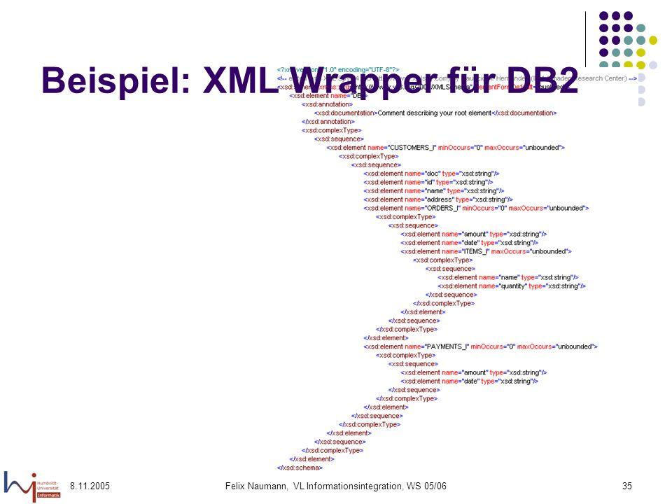 8.11.2005Felix Naumann, VL Informationsintegration, WS 05/0635 Beispiel: XML Wrapper für DB2